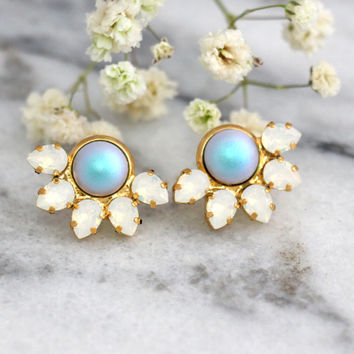 Bridal Pearl Earrings, Blue Sky Earrings, Bridal Blue Powder Swarovski Earrings, Opal Earrings, Bridesmaids Earrings, Light Blue Studs
