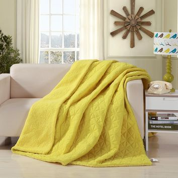 DaDa Bedding Tuscan Sun Yellow Reversible Quilted Ultra Sonic Throw Blanket Bedspread (BJ0107)