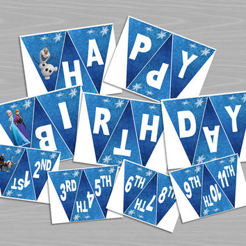 Happy Birthday Banner - Disney Frozen - Printable Elsa, Anna, Olaf 9 Page PDF - Personalized with Age - INSTANT DOWNLOAD - Party Decor