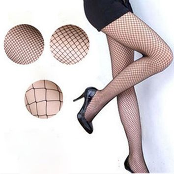Fashion Women Sexy Pantyhose Mesh Fishnet Nylon Tights Long Stocking Jacquard Step Foot Seam Pantyhose High Over Knee 2017