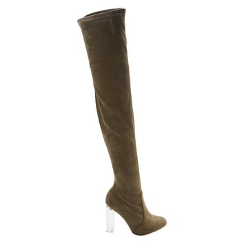 Blossom23 Taupe By Wild Diva, OTK Over Knee Thigh High Pull On Lucite Clear See Through Block Heel