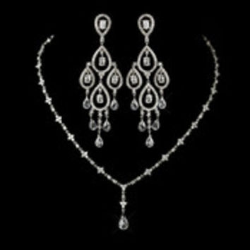 Antique Silver Clear Austrian CZ Crystal Bead Floral Necklace 8171 & Chandelier Earrings 8627 Bridal Jewelry Set