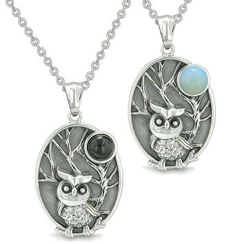 Amulets Love Couple or Best Friends Owl Wild Woods Magic Moon Onyx Opalite Necklaces