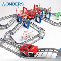 Kids toys electric rail car kids train track slot toy