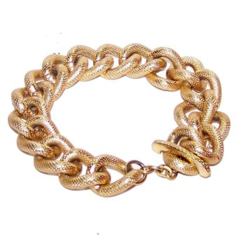 Gold Chain Bracelet - Statement Bracelet, Chunky, Big Wide Large Links, Textured, Matching Toggle