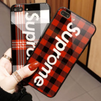 Supreme iphone6 mobile phone shell silicone iphone7plus soft shell glass hanging rope men and women