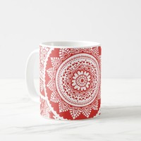 Red & White Mandala Pattern Mug