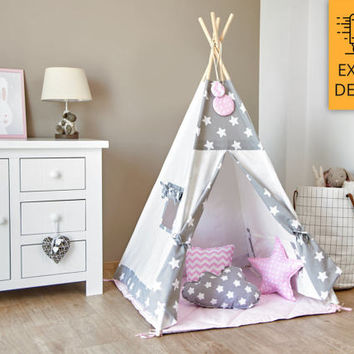 Tipi Set - Kids Play Tent Teepee - Cozy Grey Stars Pink