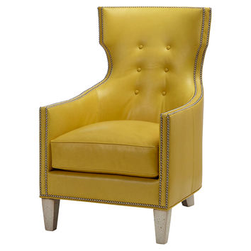 Jonty Leather Chair, Yellow, Accent & Occasional Chairs
