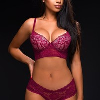 Push Up Lace Bra Plum