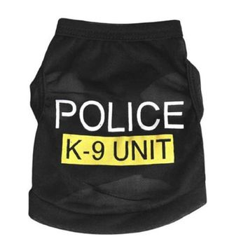 Police Printed Pet Dog Puppy Cloth Costume