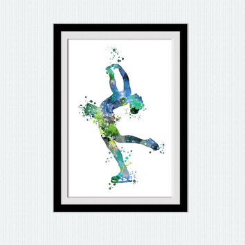 Figure skating colorful print Ice skating watercolor poster Figure skating art print Home decoration Kids room decor Sport art poster W487