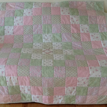 LOVE, Rachel Ashwell, Shabby Chic, Trip Around The World, Hand Quilted, Handmade Lap  Quilt 57 x 57 inches Free Shipping Canada & US