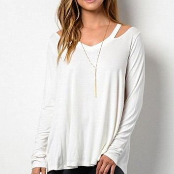 Soho Cold Shoulder Knit - White