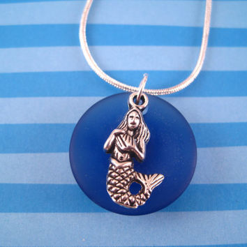 Mermaid Necklace - Mermaid Jewelry - Cobalt Blue Sea Glass Necklace - Sea Glass Jewelry - Royal Blue Jewelry - Necklace and Earring Set