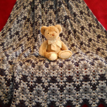 Crocheted blanket in shades of blue, afghan, throw, ripple