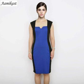 Aamikast Elegant Women Square Collar Sleeveless Knee-Length Optical Illusion Color Block Party Cocktails Pencil Dress