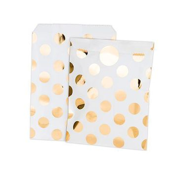 Gold Foil Polka Dot Paper Treat Bags with Stickers (Pack of 8)