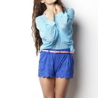 Mid-Rise Blue Soft Suede Shorts with Scallop Hemline