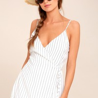 At the Seashore White Striped Romper