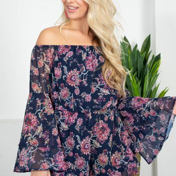 Navy Ruffle Floral Romper