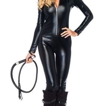 CREYUG3 Women's FashionCelebSeductive Vixen Catwoman Costume Kit Catsuit + Mask Halloween Carnival Fancy Party Dress (Color: Black)
