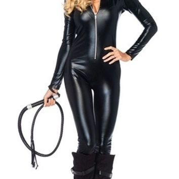 ICIKIX3 Women's FashionCelebSeductive Vixen Catwoman Costume Kit Catsuit + Mask Halloween Carnival Fancy Party Dress (Color: Black)
