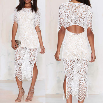 Sexy white pencil lace dress women for love and lemons Summer bandage half Sleeve lace dress Insert midi dresses 4369