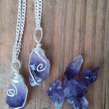 Raw Amethyst necklace, pendant, boho necklace, healing stone, silver, amethyst, pendulum, point, raw, crystal, stone, birthstone, purple