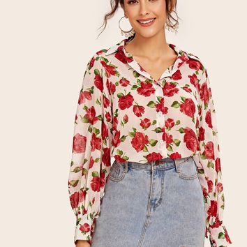 Allover Rose Print Puff Sleeve Blouse