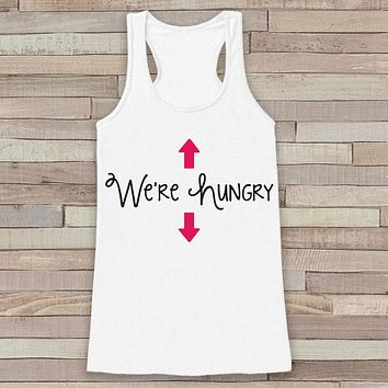 Pregnancy Announcement Tank - Simple Pregnancy Shirt - We're Hungry Baby Girl Tank - White Tank Top - Pregnancy Announcement Shirt - New Mom