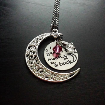 I Love You To The Moon And Back Pendant Necklace-Personalize with Swarovski Crystal Birthstones