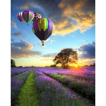 Frameless Romantic Balloon Landscape DIY Painting By Numbers Modern Wall Art Hand Painted Oil Painting For Home Decor Artwork