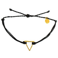 Gold Hammered Triangle Black