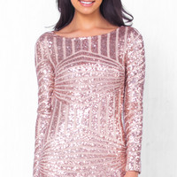 Pink Open Back Sequins Micro Mini Dress