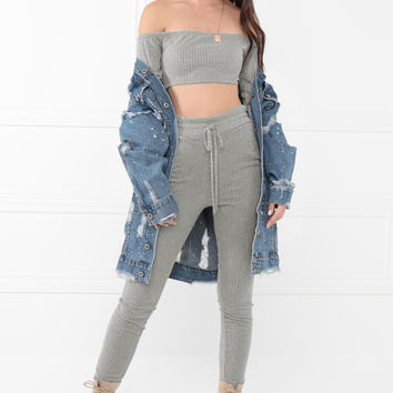 Hot Damn Co-Ord Set - Grey