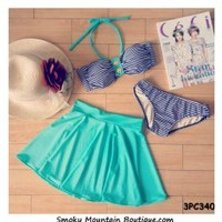 Striped and Green 3 Piece Swimsuit Set Top, Bikini Bottom and Skirt (XS/S/M) 340 - Smoky Mountain Boutique