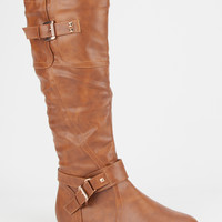 Twisted Shelly Womens Tall Boots Cognac  In Sizes