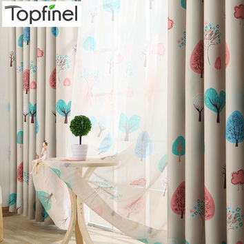 Top Finel Kids Curtains for Living Room Bedroom Tree Pattern Design Window Curtains Baby Room Lovely Children Curtains Drapes