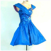 The BLINDING BLUE Dress Vintage 1980's Glamour Dress Sequin Floral Short Vintage Prom Gown Dancing Dress Size 2/4 XS to Small