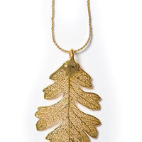 Rocky Mountain Leaf Company  |  Real Oak Leaf Necklace in 24k Gold Lace Style