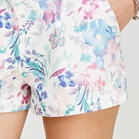 Watercolor Floral Print Shorts