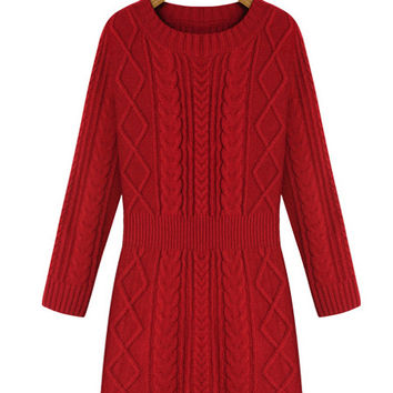 Red Cable Knitted Mini Sweater Dress