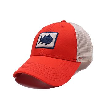 Gameday Skipjack Fly Patch Trucker Hat in Endzone Orange by Southern Tide