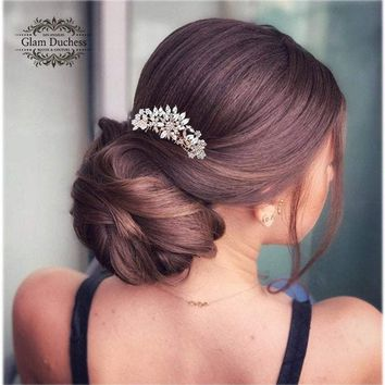 Rose Gold Bridal Hair Comb, Crystal comb, Silver Leaf Crystal hair jewelry