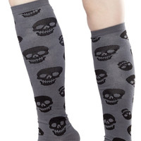 "Sourpuss Gray & Black Skulls 19"" Knee High Socks"