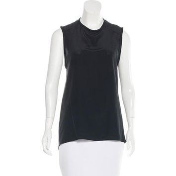 Alice + Olivia Silk Sleeveless Top Black - Size Medium