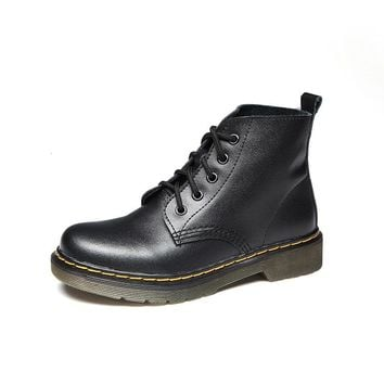 Genuine Leather Boots Women  Lace Up Women Shoes For Girls Motorcycle Ankle Boots Fashion