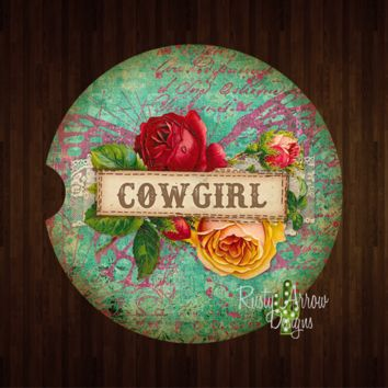 Roses and Cowgirls Sandstone Car Coaster