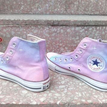 DCCK8NT pink galaxy converse shoes custom converse galaxy converse sneakers hand painted on c